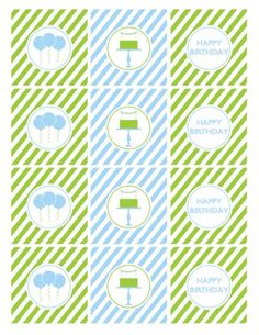 free printables boy birthday cupcake toppers blue green