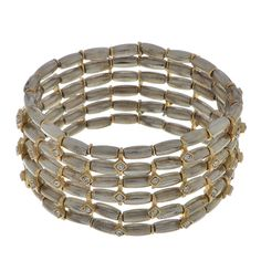 6 row silver and gold tone stretch bracelet accented by crystal clear rhinestones.