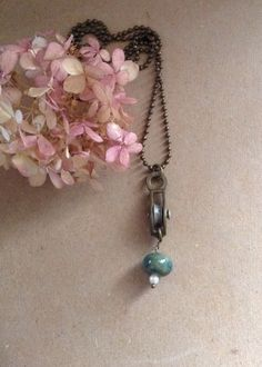 Vintage Pulley Turquoise/Green Charm Necklace...Unique Necklace by 1840VintageLane on Etsy