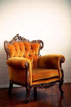 French lounge chair with squash gold velvet upholstery