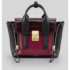 3.1 Phillip Lim Pashli Mini Leather Satchel Bag, Black/Oxblood found on Polyvore