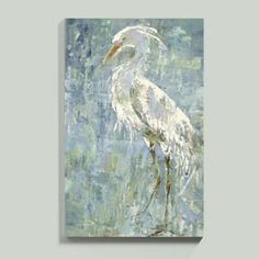 Delicate Heron Art French artist, Fabrice de Villeneuve, portrays a lone heron standing at the seashore. Full of grace, its long-legged body stands out against the watery blues and greens of its habitat. Canvas Artwork, Canvas Wall Art, Rooster Art, Portraits, Coastal Art, Blue Heron, Ballard Designs, Animal Paintings, Bird Paintings