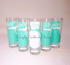 9 Personalized Wedding Shot Glasses, Bridesmaid and Bachelortette Wedding Party Glasses on Etsy, $63.00