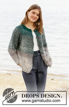 Knitted jacket with raglan in 3 strands DROPS Brushed Alpaca Silk. Sizes S - XXXL. All Free Knitting, Knitting Gauge, Knitting Patterns Free, Drops Design, Cardigan Pattern, Knit Cardigan, Jumper, Manga Raglan, Magazine Drops