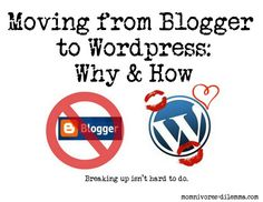Moving from Blogger to Wordpress: #blogging.  Don't wait like I did.  If you want to move your blog, do it sooner than later...