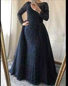Luxury Arabic Evening Gowns with overskirt colors) - Nirvanafourteen Hijab Evening Dress, Hijab Dress Party, Hijab Style Dress, Beaded Evening Gowns, Mermaid Evening Dresses, Prom Dresses, Mode Abaya, Mode Hijab, Muslim Dress