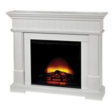 Canvas Harlow Electric Fireplace features a transitional design with a cutaway hearth and fluted head moulding with white finish | Canadian Tire