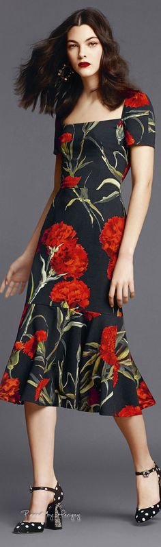 ♔Dolce & Gabbana.2015♔ #vestido #barra #avasê #manga #estampa #flores #preto…