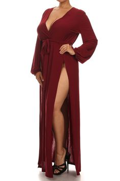 1a423619afe Plus Size Glamour Slit Tie Burgundy Maxi Dress – PLUSSIZEFIX