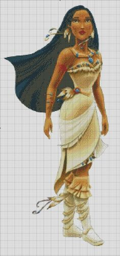 Pocahontas: The princess of Disney Princess franchise. The other charts in Disney Princess line: Snow White Cinderella Aurora Ariel Belle Jasmine Mulan Tiana Rapunzel Mérida I do this as a supp. Disney Cross Stitch Patterns, Counted Cross Stitch Patterns, Cross Stitch Charts, Cross Stitch Designs, Cross Stitch Embroidery, Embroidery Patterns, Pdf Patterns, Stitch Cartoon, Crochet Cross