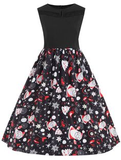 6081365ac7 Christmas Santa Claus Sleeveless Plus Size Dress