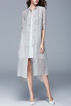 Retro Embroidery Solid Color Stand Collar Dress