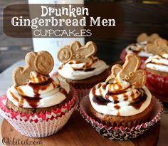 ~Drunken Gingerbread Men Cupcakes!    haha @Tiffany Hancock i love these ~