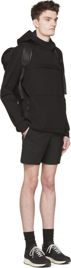 Tim Coppens: Black Wool & Leather Zip Shorts | SSENSE