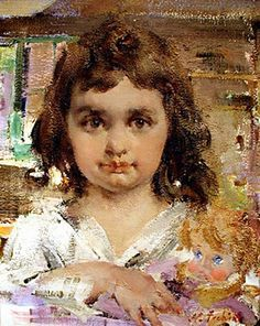 Baby Doll, painting by Nicolai  Ivanovich Fechin. art 1913
