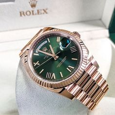 Olive Green Dial Rolex Day-Date in Gold Photo by Audemars Piguet, Sport Chic, Patek Philippe, Cool Watches, Rolex Watches, Hugo Boss, Rolex Presidential, Omega, Moda Masculina