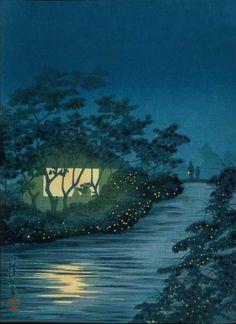 Fireflies at Night by Kobayashi Kiyochika (ca1930).