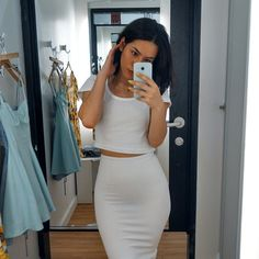 I kind of like the idea of a pencil skirt and a cropped top. // via dirtylittlestylewhoree