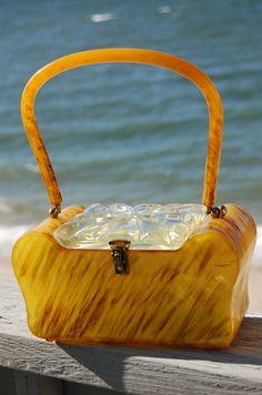 Vintage 50s LUCITE Handbag Butterscotch