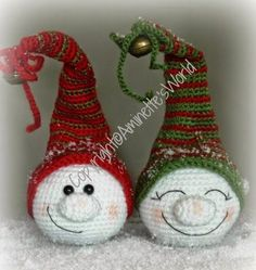 Just made with love by Antoinette: My Free Patterns Crochet Snowman, Crochet Christmas Ornaments, Christmas Crochet Patterns, Holiday Crochet, Christmas Knitting, Crochet Patterns Amigurumi, Crochet Winter, Christmas Snowman, Crochet Dolls