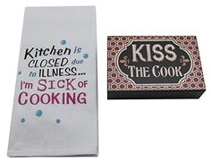 Sassy Tea TowelSign Set  White Cotton Embroidered Kitchen is CLOSED due to ILLNESS Im SICK OF COOKING towel and KISS THE COOK Sign ** More info could be found at the affiliate link Amazon.com on image.