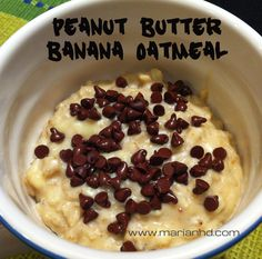 Fantastic Meatless Monday oatmeal breakfast with peanut butter, banana, and a little chocolate.