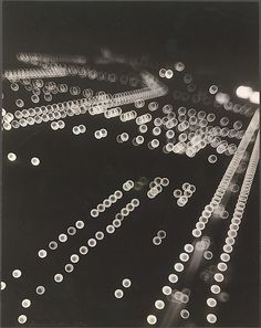 'Impressions of Chicago - The Lights of Grant Park' by Gordon H. Coster, 1932 Hollow dots, contrasted with solid shapes Gordon Parks, Grant Park, Out Of Focus, City Lights, Night Lights, Light And Shadow, Textures Patterns, Black And White Photography, Light In The Dark