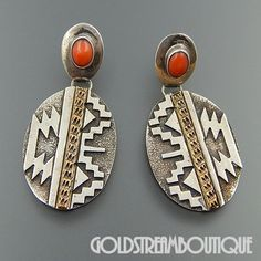 NATIVE AMERICAN REW DINEH NAVAJO STERLING SILVER 1/20 12K GF CORAL OVERLAY DANGLE POST EARRINGS