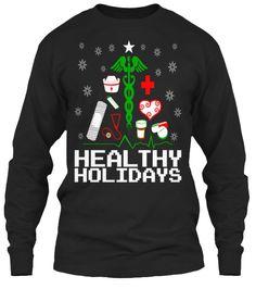Healthy Holidays Nurse Supplies Christmas Tree Ugly Christmas style Long Sleeve Tees. #gift #medical
