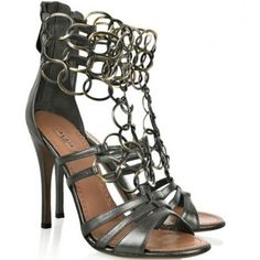 $166> ALAiA Chain-link metallic leather sandals
