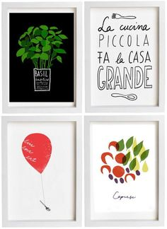 """so many wonderful prints about food, cooking, wine and simple pleasures.  I want all of them!  """"A little kitchen makes a large home"""" <3"""