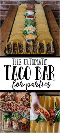 Taco Bar This easy game day taco bar is filled with all your favorite flavors and is so simple to put together!This easy game day taco bar is filled with all your favorite flavors and is so simple to put together! Taco Bar, Dessert For Dinner, Dessert Bars, Party Ideas, Mini Peach Pies, Recipes With Enchilada Sauce, Party Food Platters, Theme Halloween, Gourmet