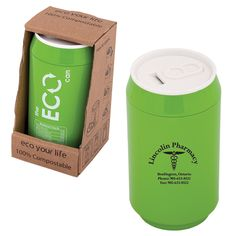 DA8288 - DOUBLE WALLED 280 ML. (9.5 OZ.) ECO CAN - Debco Environmentally friendly heat resistant PLA  • PLA is thermoplastic derived from renewable resources like corn starch   Preprinted as shown on back  • Durable and reusable  • BPA free and FDA compliant  • Dishwasher friendly• 100% compostable  • Entire lid screws on/off for easy cleaning and refilling  • Biodegradable and recyclable  • Uniquely boxed as illustrated  • http://www.creatchmanpromo.ca/