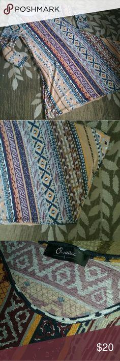 Knit boho tribal dress Soft stretchy knit with asymmetrical hem and amazing southwestern tribal print! Dresses Long Sleeve