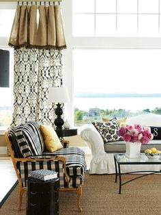 "Decorating Rule to Break!  I recommend this to my clients often, ""If you like it, buy it because somehow it all works in the end!""  Mix florals, plaids, stripes...mix modern and traditional but make sure you keep the colour scheme constant!  BHG tells how in this article http://www.bhg.com/decorating/lessons/expert-advice/decorating-rules-you-can-break/?sssdmh=dm17.575019&esrc=nwdc011112&email=3601522377#page=4"