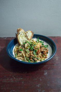Spaghetti with wild boar sausage, peas & chilli   heneedsfood.com