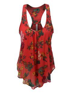 LE3NO Womens Flowy Floral Print Chiffon Racerback Tank Top
