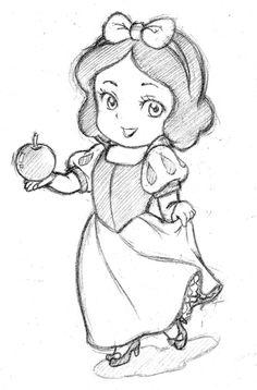 Chibi version of Disney's Snow White. I couldn't make the chibi versions of the dwarves.sorry for the bad joke Random Chibi 10 Easy Disney Drawings, Disney Drawings Sketches, Disney Character Drawings, Easy Cartoon Drawings, Girl Drawing Sketches, Disney Princess Drawings, Girly Drawings, Art Drawings Sketches Simple, Pencil Art Drawings