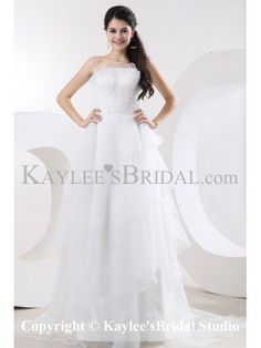 Organza Strapless Court Train A-Line Wedding Dress with Embroidered