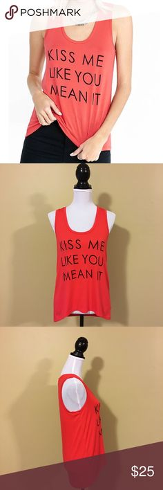 Express Kiss Me Like You Mean It Graphic Tank Express Kiss Me Like You Mean It Graphic Tank - Size Small. Adorable loose fitting tank. Grab it now and start planning your Valentine's Day outfit! Express Tops Tank Tops