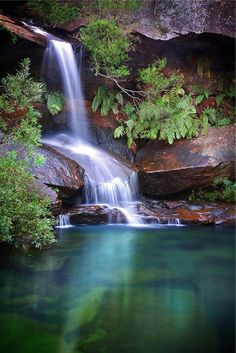 Waterfall Upper Gledhill Falls in Ku-ring-gai Chase National Park, Sydney, Australia awesome mother nature top of the world Beautiful Waterfalls, Beautiful Landscapes, Beautiful World, Beautiful Places, Beautiful Wife, Amazing Nature, Wonders Of The World, Mother Nature, Nature Photography