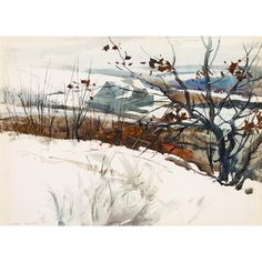 Artwork by Andrew Wyeth, GRAY BARN, Made of watercolor on wove paper