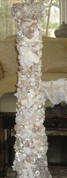 Gorgeous Seashell Candleholder 48inches Tall by SeashellWhimsy, Artist Kathryn Heie