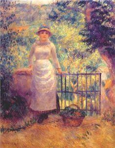 Aline at the gate (girl in the garden) - Pierre-Auguste Renoir