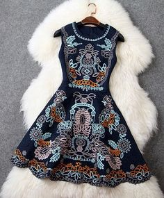 Embroidered Dress in Navy Blue: