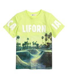 T-Shirt mit Druck | Limettengelb/California | Kinder | H&M DE