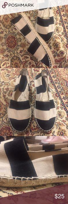 🌟 || Black-Beige Stripe Espadrilles black and beige suede stripe espadrilles from zara Zara Shoes Espadrilles