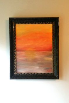 Abstract Oil painting of sunset over the Mighty Mississippi River 18 x 24 on canvas framed in wood frame, fine art on Etsy, $375.00