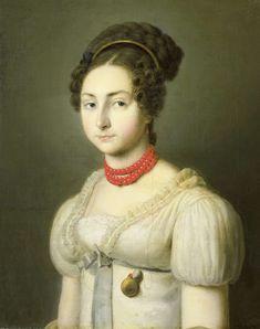 Coral necklace. Jacoba van Wessem (1801-56), echtgenote van de heer Stumphius, burgemeester van Beverwijk, Dirk van Oosterhoudt, ca. 1820 - ca. 1830