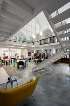 URED architecture studio has developed a new creative office design for Impact Hub in Belgrade, Serbia from through an adaptation and interior space Arch Interior, Interior Architecture, Interior Design, Creative Office Space, Office Spaces, Space Projects, Future Office, Stair Steps, Social Housing